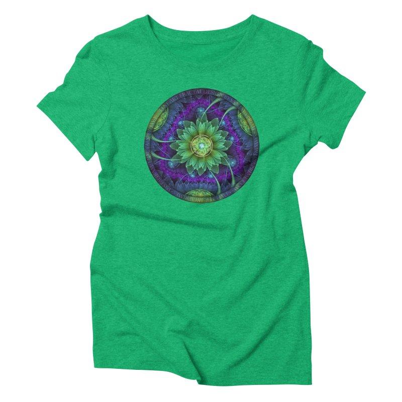 Blue and Green Pandoran Snap Lotus Fractal Flower Women's Triblend T-Shirt by The Fractal Art of San Jaya Prime