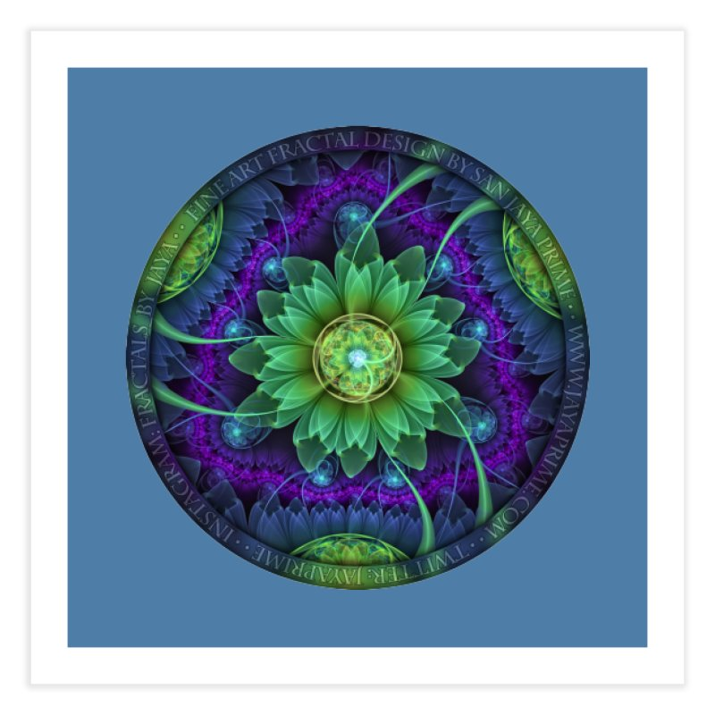 Blue and Green Pandoran Snap Lotus Fractal Flower Home Fine Art Print by The Fractal Art of San Jaya Prime