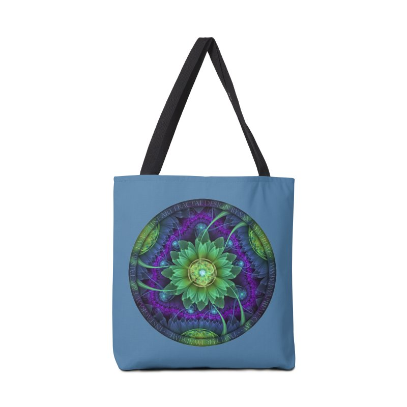 Blue and Green Pandoran Snap Lotus Fractal Flower Accessories Bag by The Fractal Art of San Jaya Prime