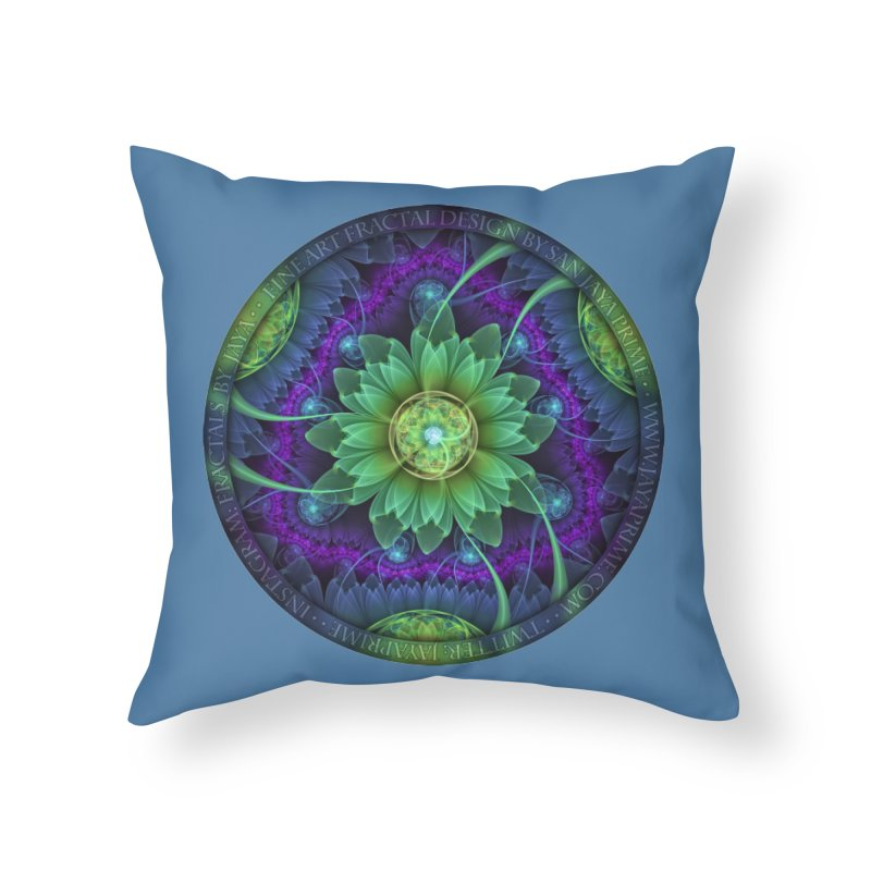 Blue and Green Pandoran Snap Lotus Fractal Flower Home Throw Pillow by The Fractal Art of San Jaya Prime