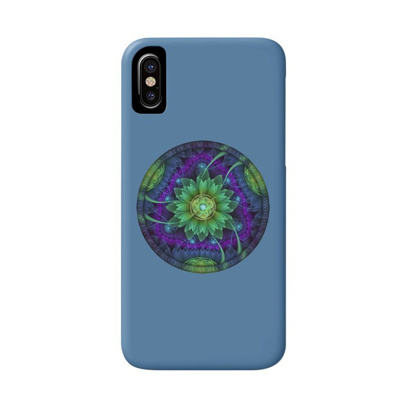 Blue and Green Pandoran Snap Lotus Fractal Flower Accessories Phone Case by The Fractal Art of San Jaya Prime