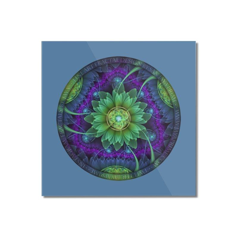 Blue and Green Pandoran Snap Lotus Fractal Flower Home Mounted Acrylic Print by The Fractal Art of San Jaya Prime