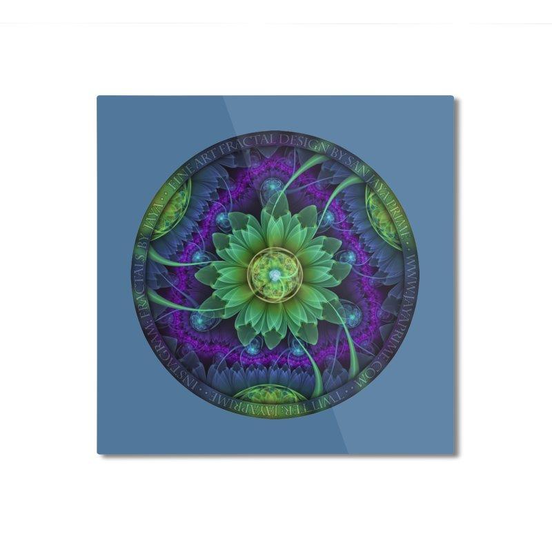 Blue and Green Pandoran Snap Lotus Fractal Flower Home Mounted Aluminum Print by The Fractal Art of San Jaya Prime