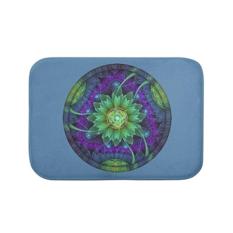 Blue and Green Pandoran Snap Lotus Fractal Flower Home Bath Mat by The Fractal Art of San Jaya Prime