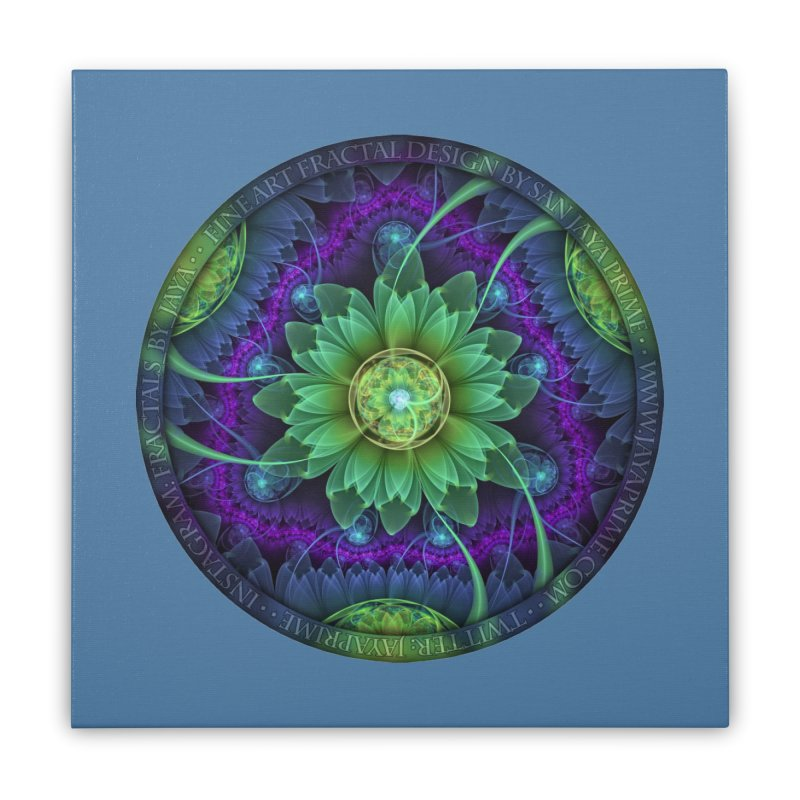 Blue and Green Pandoran Snap Lotus Fractal Flower Home Stretched Canvas by The Fractal Art of San Jaya Prime