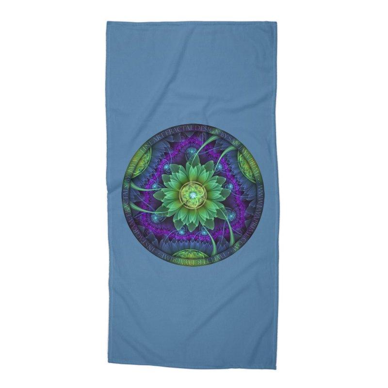 Blue and Green Pandoran Snap Lotus Fractal Flower Accessories Beach Towel by The Fractal Art of San Jaya Prime