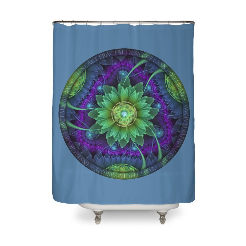 Blue and Green Pandoran Snap Lotus Fractal Flower Home Shower Curtain by The Fractal Art of San Jaya Prime