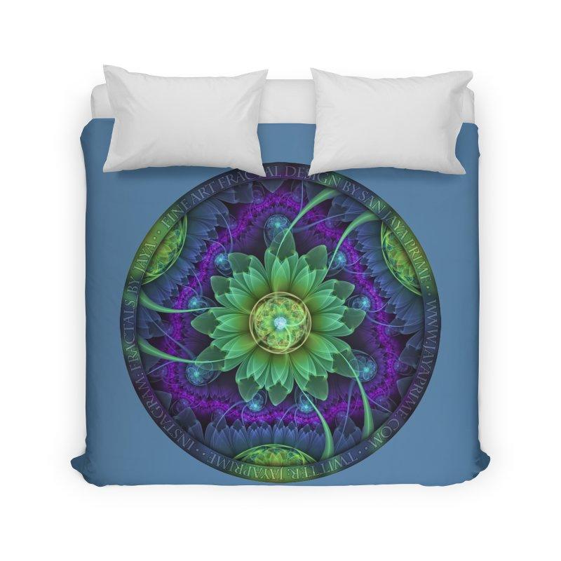 Blue and Green Pandoran Snap Lotus Fractal Flower Home Duvet by The Fractal Art of San Jaya Prime