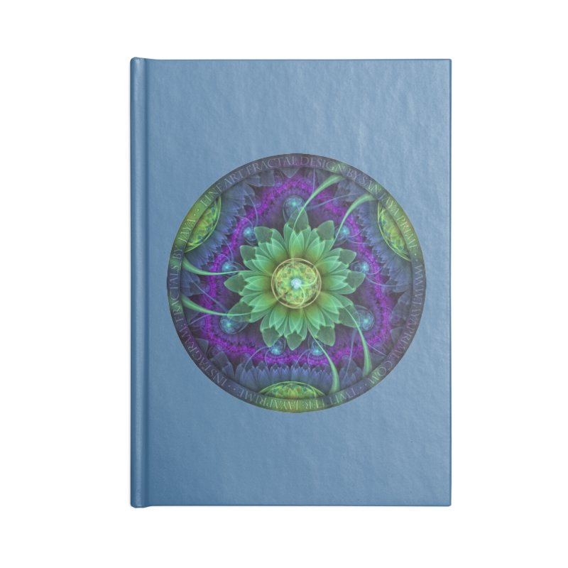 Blue and Green Pandoran Snap Lotus Fractal Flower Accessories Notebook by The Fractal Art of San Jaya Prime