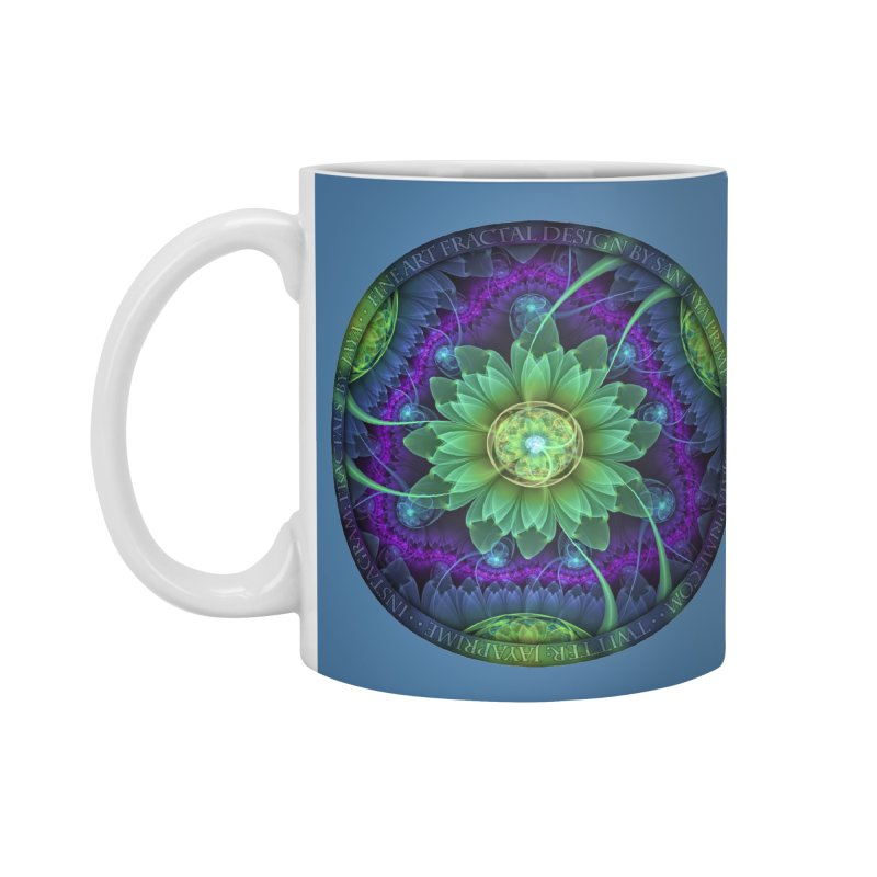 Blue and Green Pandoran Snap Lotus Fractal Flower Accessories Mug by The Fractal Art of San Jaya Prime