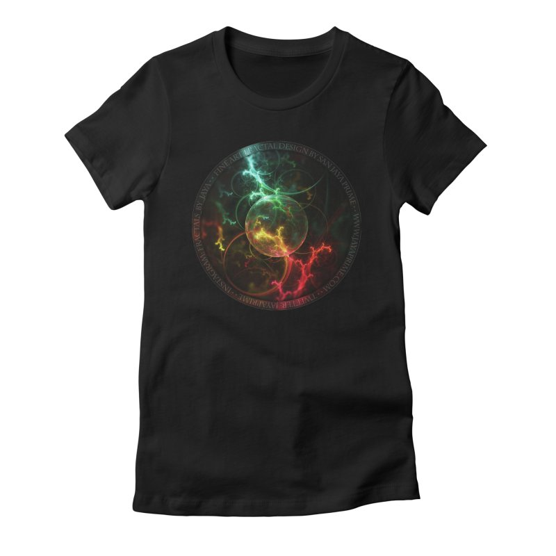 Carnivorous Cape Sundew Tentacles in an Ecosphere Women's Fitted T-Shirt by The Fractal Art of San Jaya Prime