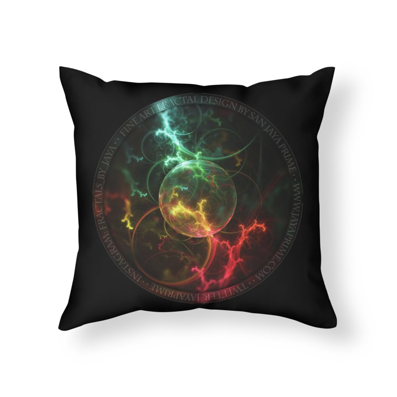 Carnivorous Cape Sundew Tentacles in an Ecosphere Home Throw Pillow by The Fractal Art of San Jaya Prime
