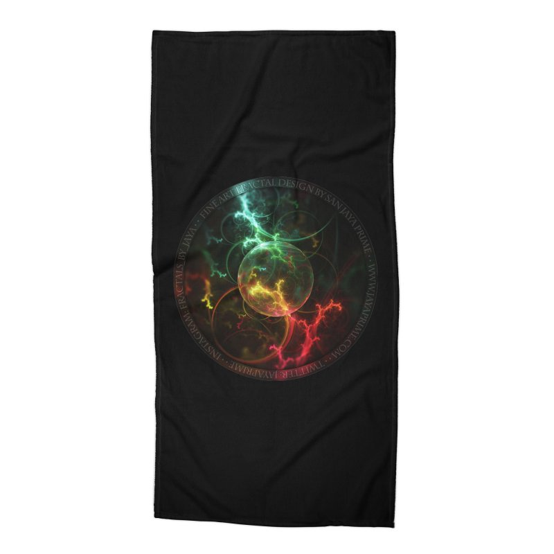 Carnivorous Cape Sundew Tentacles in an Ecosphere Accessories Beach Towel by The Fractal Art of San Jaya Prime