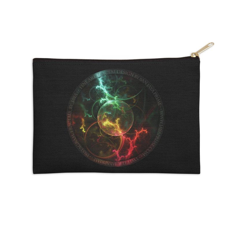 Carnivorous Cape Sundew Tentacles in an Ecosphere Accessories Zip Pouch by The Fractal Art of San Jaya Prime
