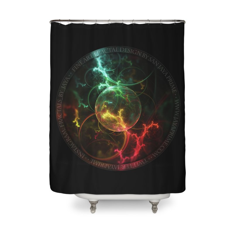 Carnivorous Cape Sundew Tentacles in an Ecosphere Home Shower Curtain by The Fractal Art of San Jaya Prime