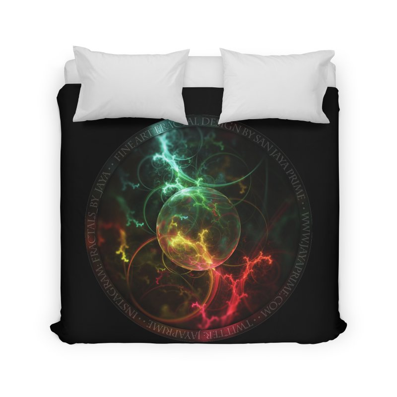 Carnivorous Cape Sundew Tentacles in an Ecosphere Home Duvet by The Fractal Art of San Jaya Prime