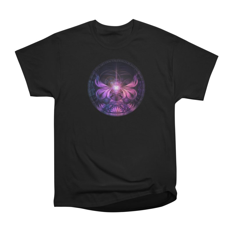 A Glowmoth of Resplendent Violet Feathered Wings Women's Heavyweight Unisex T-Shirt by The Fractal Art of San Jaya Prime