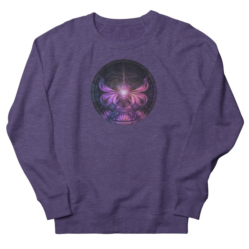 A Glowmoth of Resplendent Violet Feathered Wings Men's French Terry Sweatshirt by The Fractal Art of San Jaya Prime