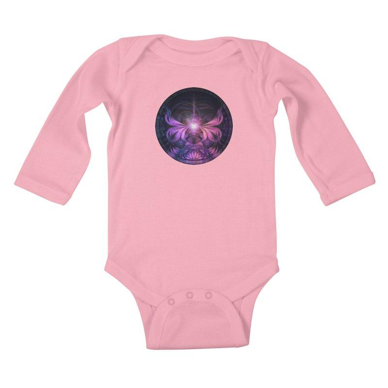 A Glowmoth of Resplendent Violet Feathered Wings Kids Baby Longsleeve Bodysuit by The Fractal Art of San Jaya Prime