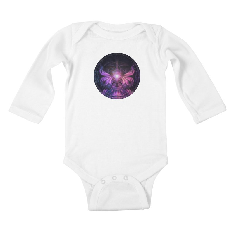 A Glowmoth of Resplendent Violet Feathered Wings Kids Baby Longsleeve Bodysuit by The Fractal Art of San Jaya Prime