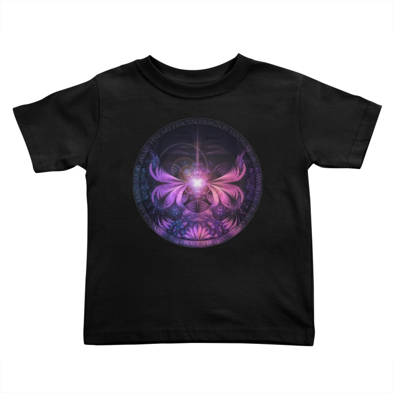 A Glowmoth of Resplendent Violet Feathered Wings Kids Toddler T-Shirt by The Fractal Art of San Jaya Prime