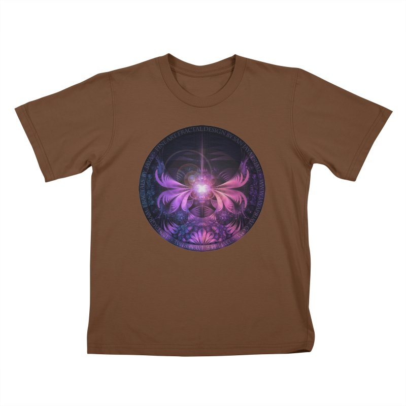 A Glowmoth of Resplendent Violet Feathered Wings Kids T-Shirt by The Fractal Art of San Jaya Prime