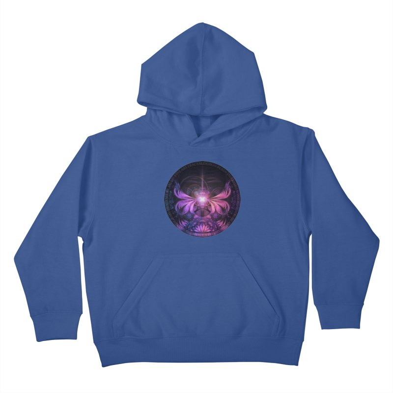 A Glowmoth of Resplendent Violet Feathered Wings Kids Pullover Hoody by The Fractal Art of San Jaya Prime