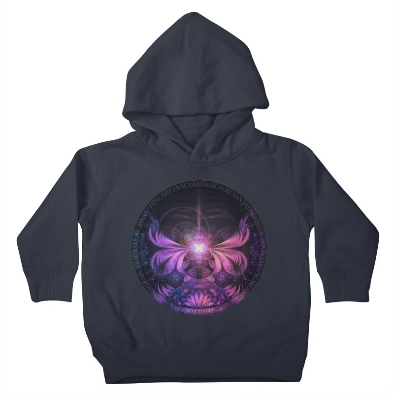A Glowmoth of Resplendent Violet Feathered Wings Kids Toddler Pullover Hoody by The Fractal Art of San Jaya Prime