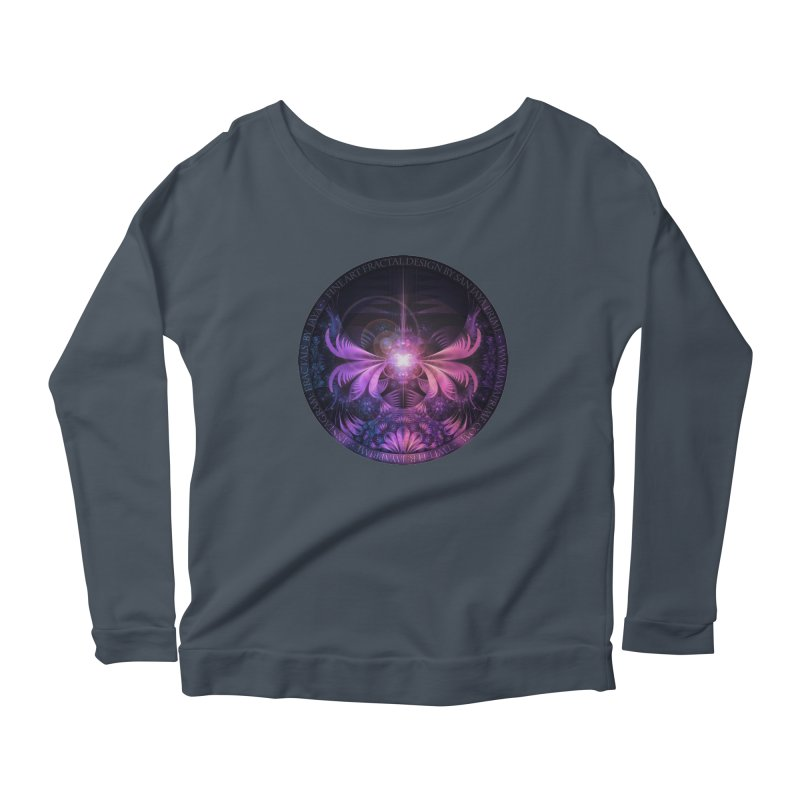 A Glowmoth of Resplendent Violet Feathered Wings Women's Scoop Neck Longsleeve T-Shirt by The Fractal Art of San Jaya Prime