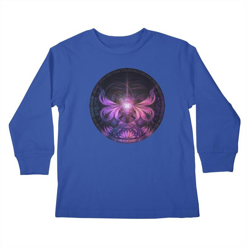 A Glowmoth of Resplendent Violet Feathered Wings Kids Longsleeve T-Shirt by The Fractal Art of San Jaya Prime