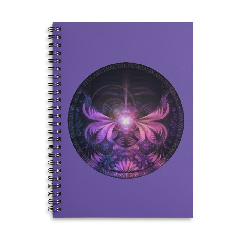 A Glowmoth of Resplendent Violet Feathered Wings Accessories Notebook by The Fractal Art of San Jaya Prime