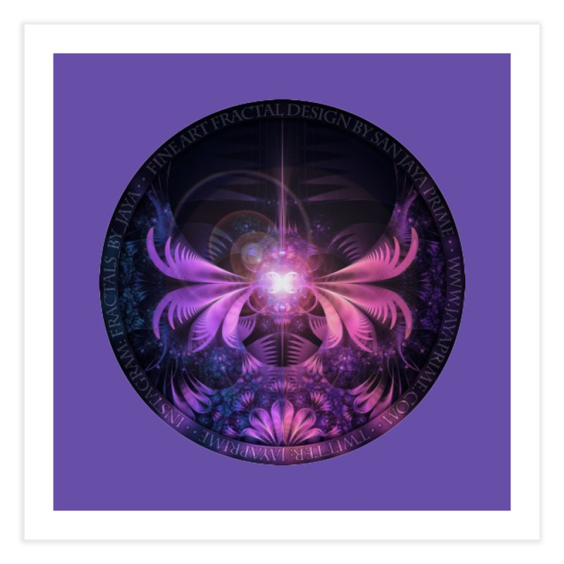 A Glowmoth of Resplendent Violet Feathered Wings Home Fine Art Print by The Fractal Art of San Jaya Prime