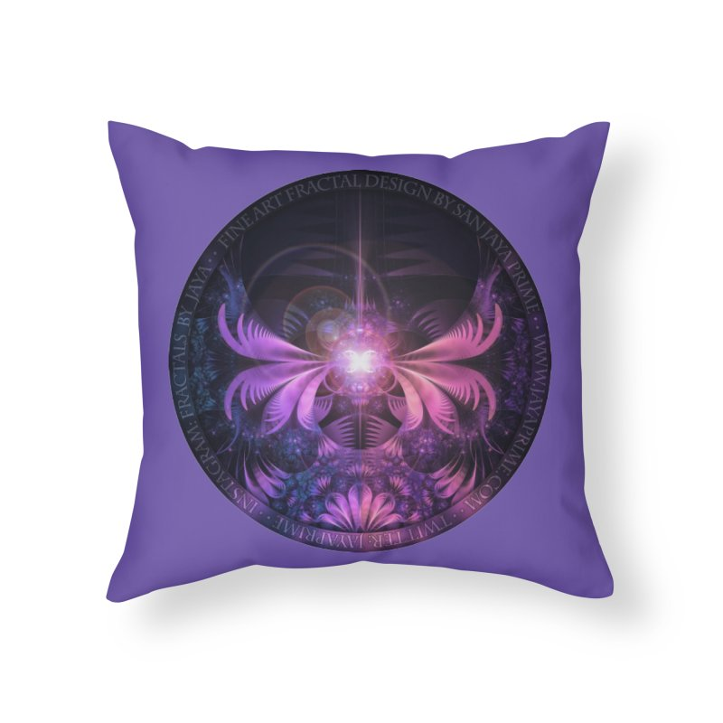 A Glowmoth of Resplendent Violet Feathered Wings Home Throw Pillow by The Fractal Art of San Jaya Prime