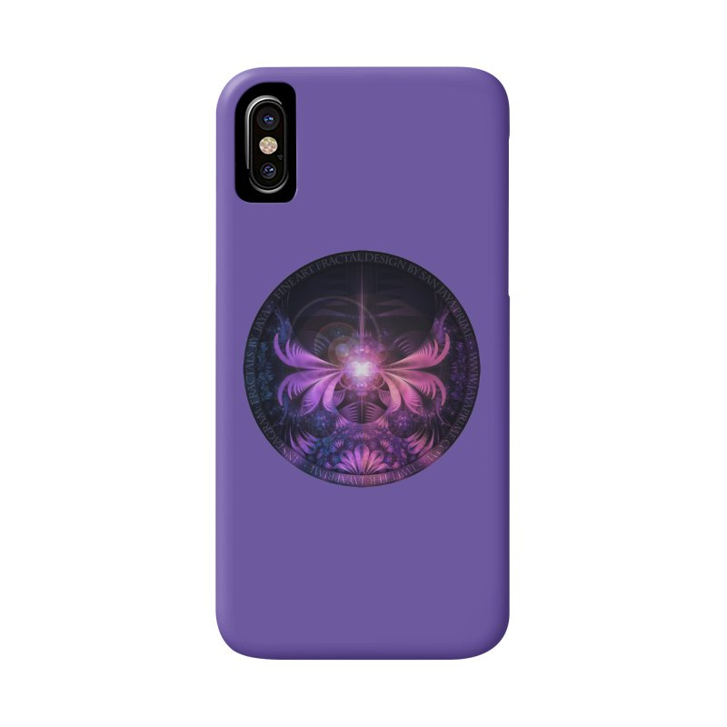 A Glowmoth of Resplendent Violet Feathered Wings Accessories Phone Case by The Fractal Art of San Jaya Prime