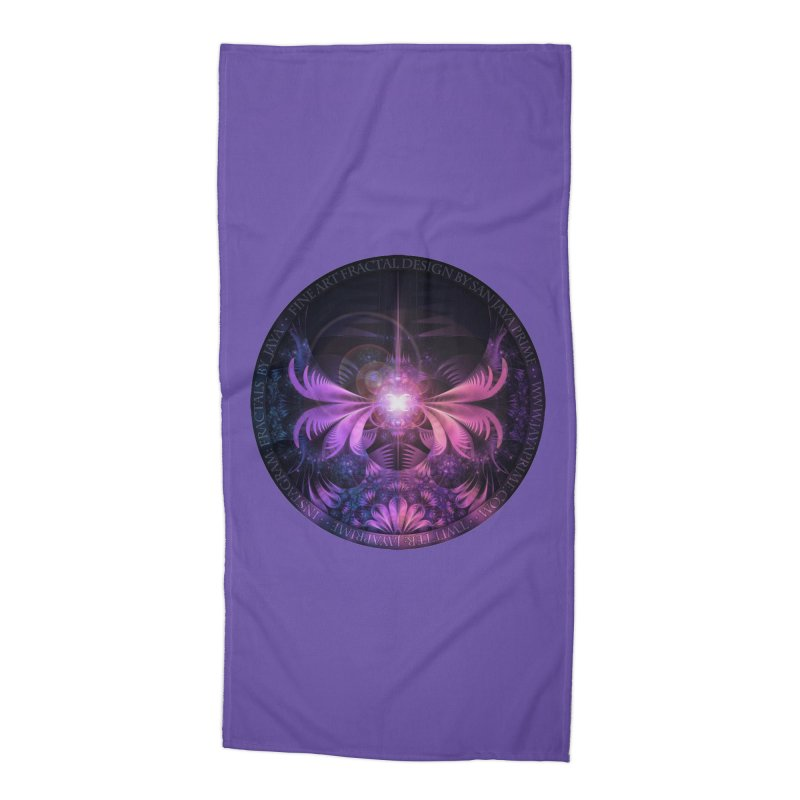 A Glowmoth of Resplendent Violet Feathered Wings Accessories Beach Towel by The Fractal Art of San Jaya Prime