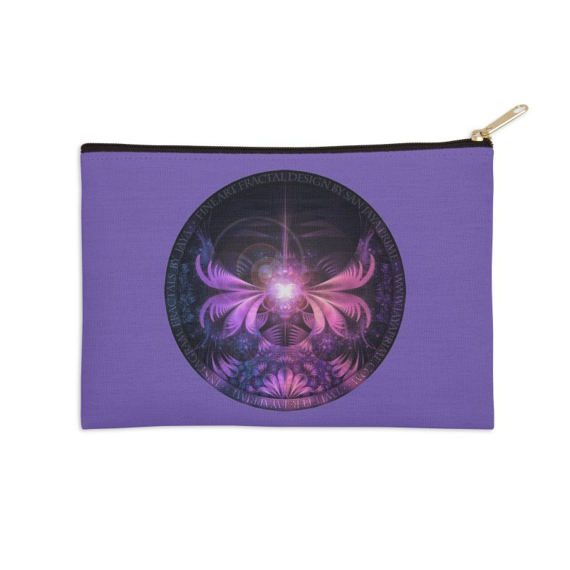 A Glowmoth of Resplendent Violet Feathered Wings Accessories Zip Pouch by The Fractal Art of San Jaya Prime