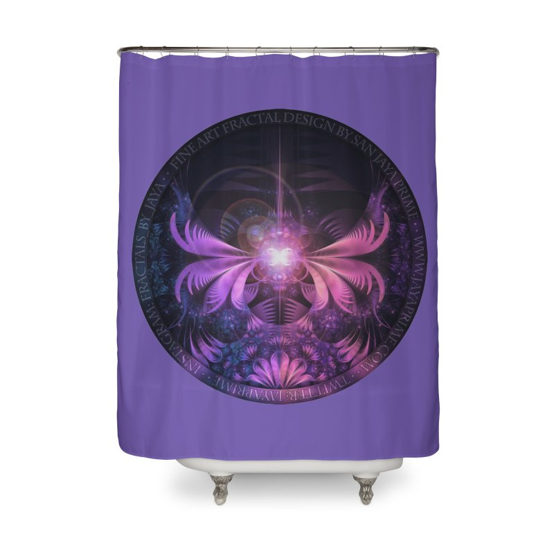 A Glowmoth of Resplendent Violet Feathered Wings Home Shower Curtain by The Fractal Art of San Jaya Prime