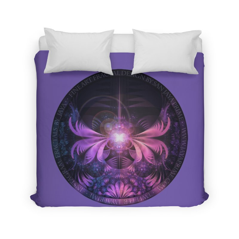 A Glowmoth of Resplendent Violet Feathered Wings Home Duvet by The Fractal Art of San Jaya Prime