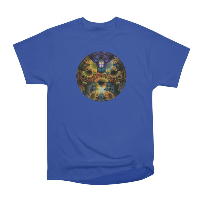 Autumn Butterfly Nexus of Amazing Fractal Colors Women's Heavyweight Unisex T-Shirt by The Fractal Art of San Jaya Prime