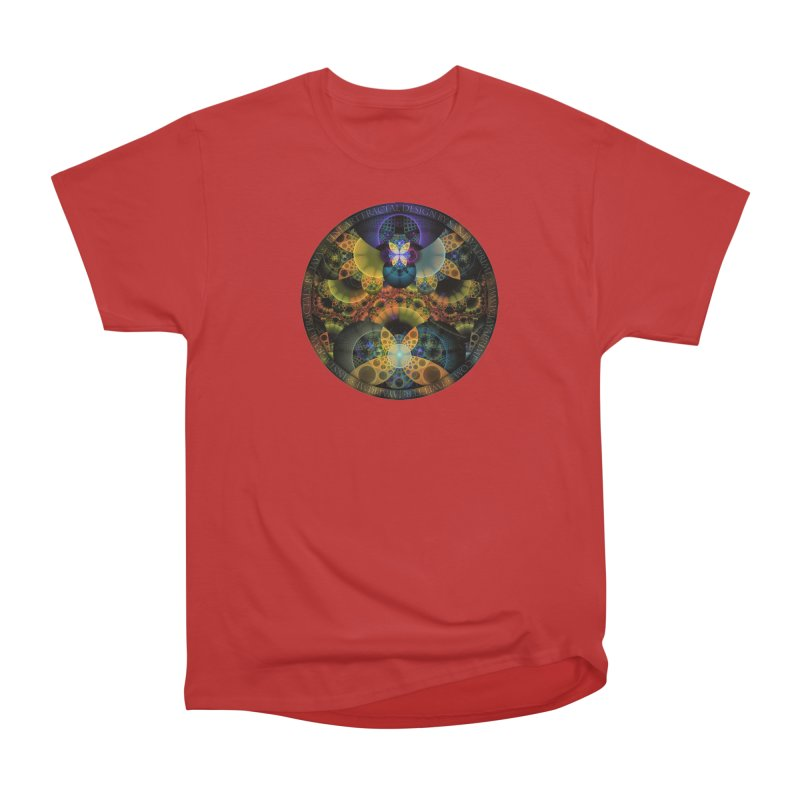 Autumn Butterfly Nexus of Amazing Fractal Colors Women's Heavyweight Unisex T-Shirt by The Fractal Art of San Jaya Prime