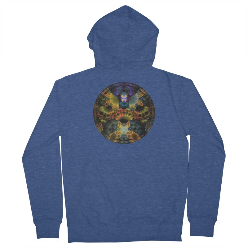 Autumn Butterfly Nexus of Amazing Fractal Colors Men's French Terry Zip-Up Hoody by The Fractal Art of San Jaya Prime