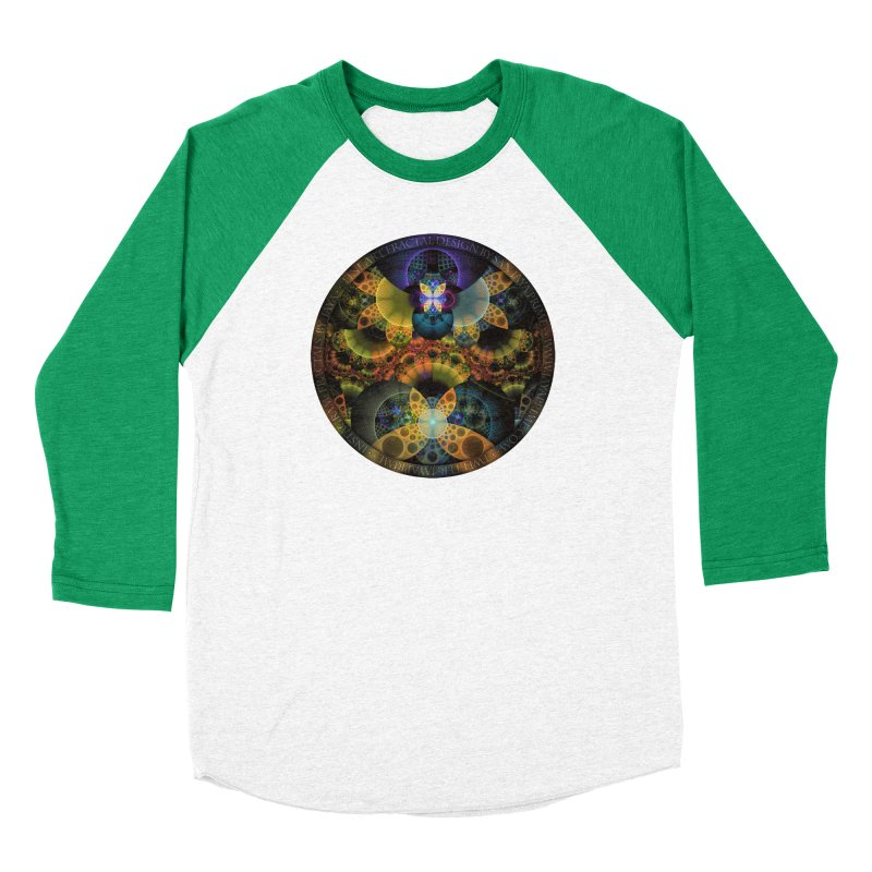 Autumn Butterfly Nexus of Amazing Fractal Colors Women's Baseball Triblend Longsleeve T-Shirt by The Fractal Art of San Jaya Prime