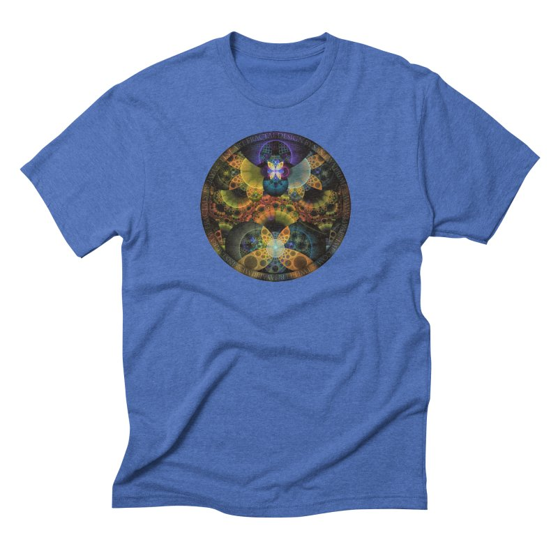 Autumn Butterfly Nexus of Amazing Fractal Colors Men's Triblend T-Shirt by The Fractal Art of San Jaya Prime