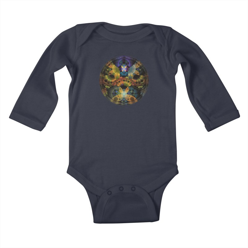 Autumn Butterfly Nexus of Amazing Fractal Colors Kids Baby Longsleeve Bodysuit by The Fractal Art of San Jaya Prime