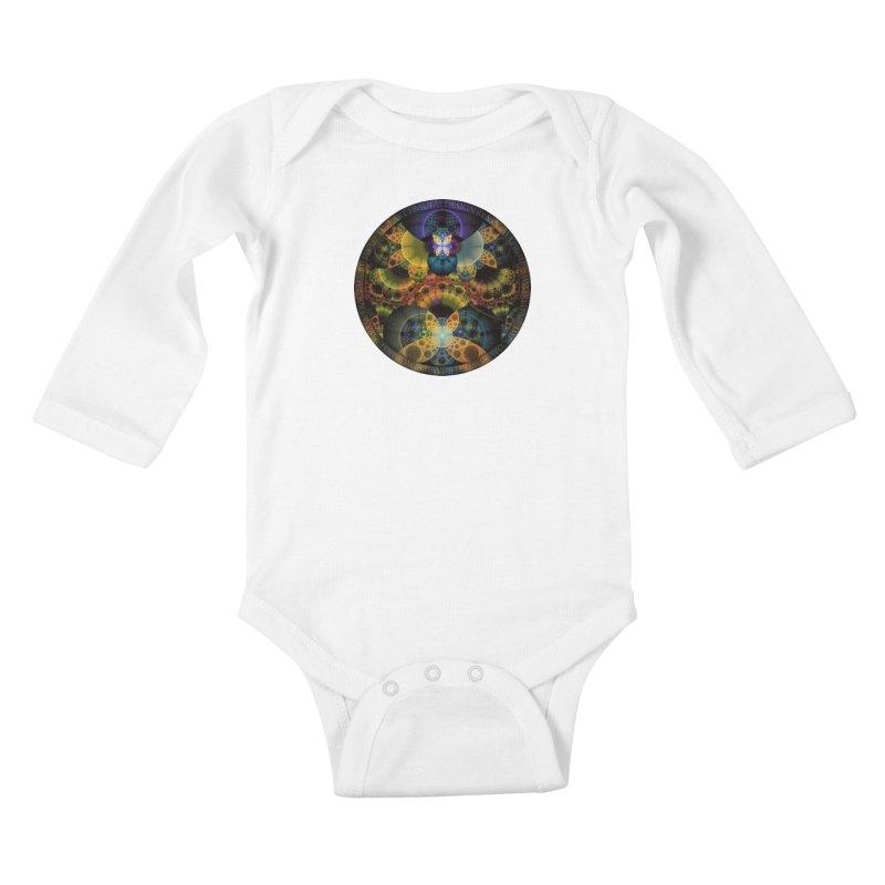 Autumn Butterfly Nexus of Amazing Fractal Colors Kids Baby Longsleeve Bodysuit by The Fractal Art of San Jaya Prime