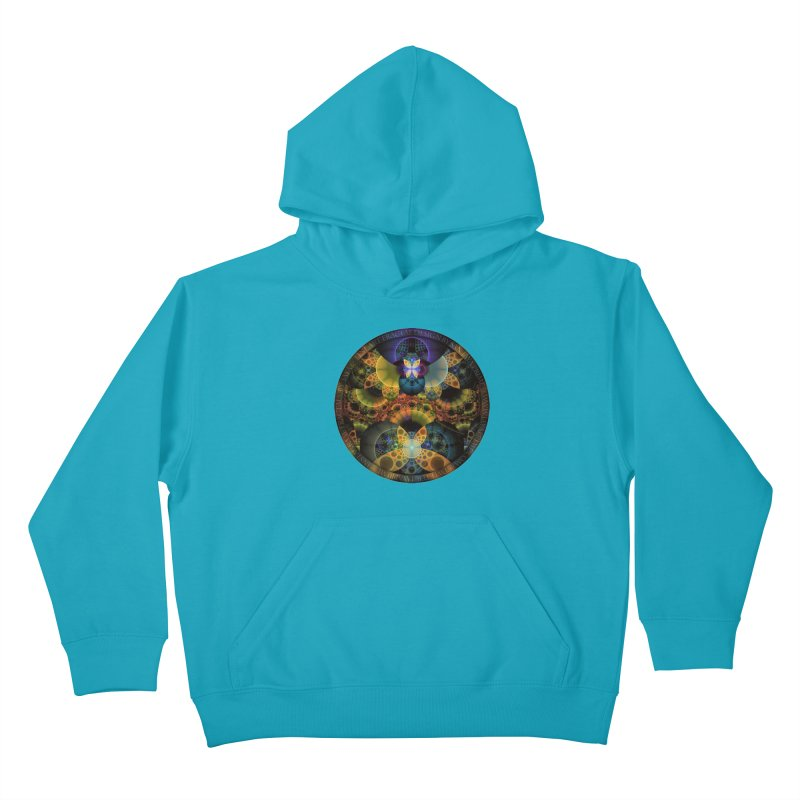 Autumn Butterfly Nexus of Amazing Fractal Colors Kids Pullover Hoody by The Fractal Art of San Jaya Prime