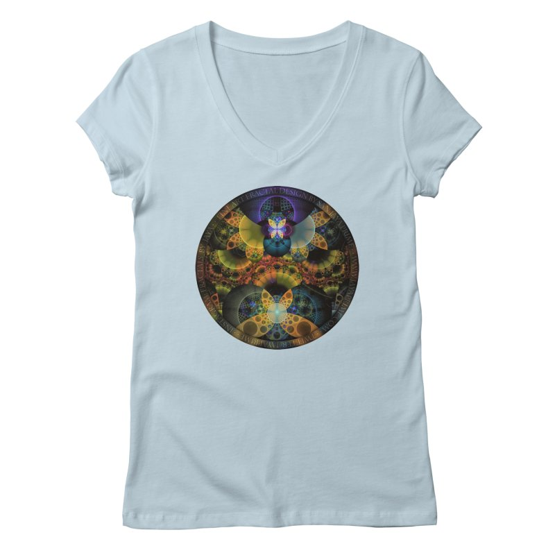 Autumn Butterfly Nexus of Amazing Fractal Colors Women's V-Neck by The Fractal Art of San Jaya Prime