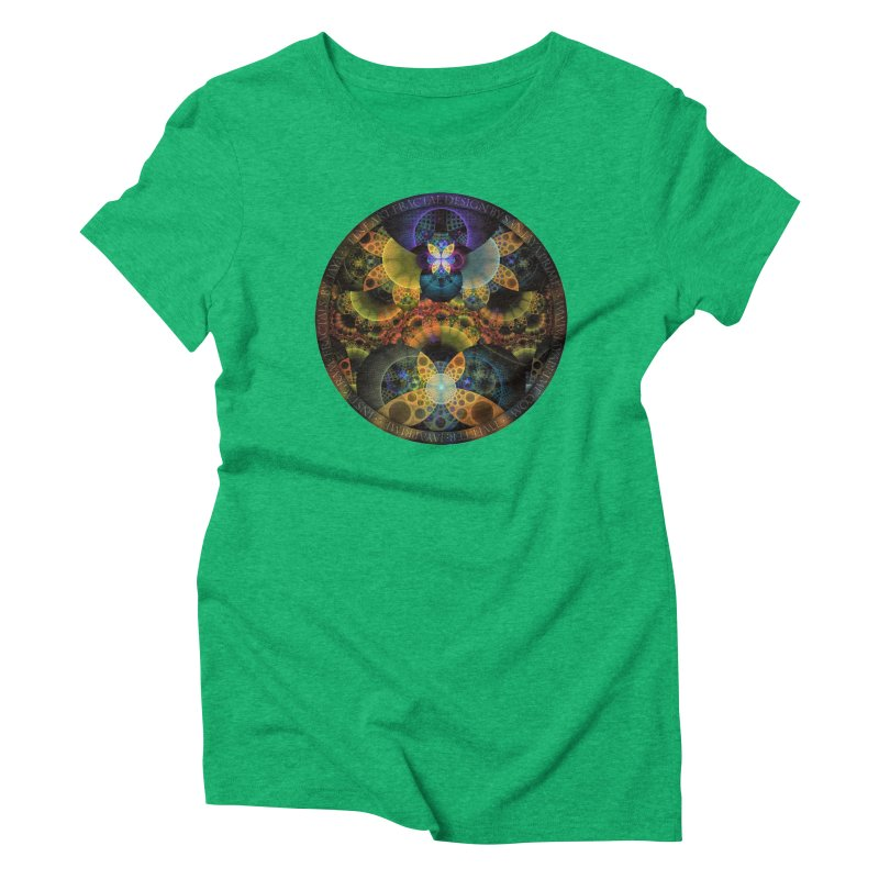 Autumn Butterfly Nexus of Amazing Fractal Colors Women's Triblend T-Shirt by The Fractal Art of San Jaya Prime
