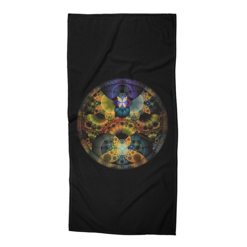 Autumn Butterfly Nexus of Amazing Fractal Colors Accessories Beach Towel by The Fractal Art of San Jaya Prime