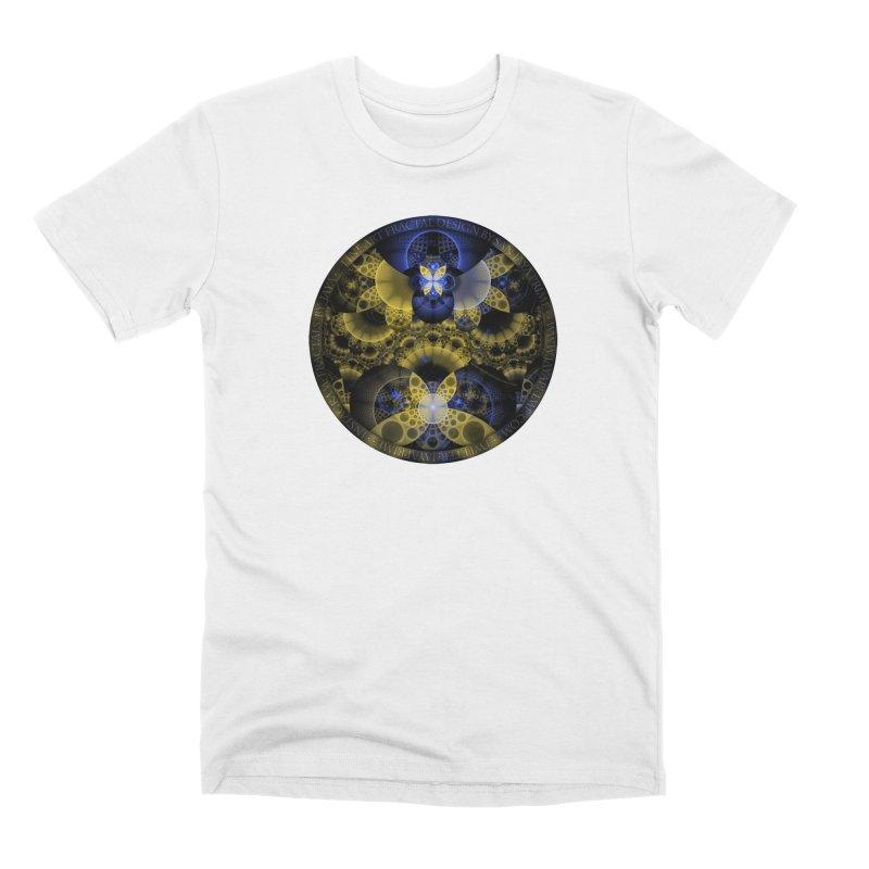 Nexus of Fractal Butterflies Seen Thru Puppy Eyes Men's Premium T-Shirt by The Fractal Art of San Jaya Prime